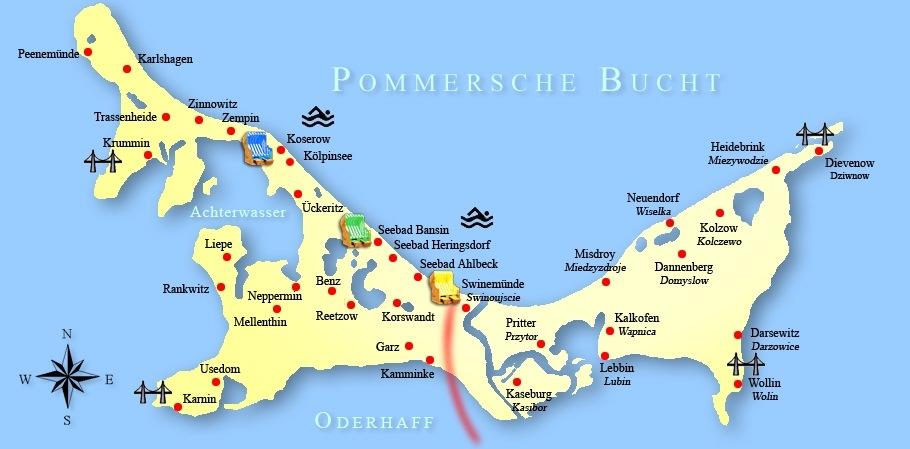 Insel Usedom Karte Ostsee.Karte Der Insel Usedom Wollin